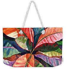 Weekender Tote Bag featuring the painting Colorful Tropical Leaves 1 by Marionette Taboniar