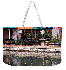 Colorful Umbrellas Reflected In Riverwalk Under Footbridge San Antonio Texas Vertical Format Weekender Tote Bag