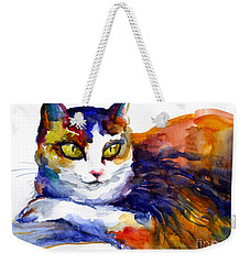 Colorful Watercolor Cat On A Tree Painting Weekender Tote Bag