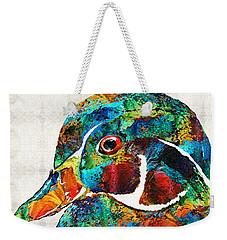 Colorful Wood Duck Art By Sharon Cummings Weekender Tote Bag by Sharon Cummings