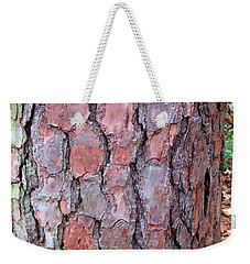 Colors And Patterns Of Pine Bark Weekender Tote Bag by Connie Fox