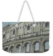 Weekender Tote Bag featuring the painting Colosseum Rome Italy by Malinda  Prudhomme