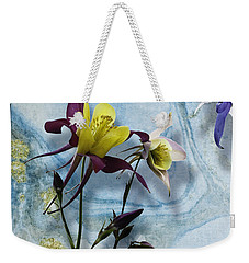 Columbine Blossom With Suminagashi Ink Weekender Tote Bag by Peter v Quenter