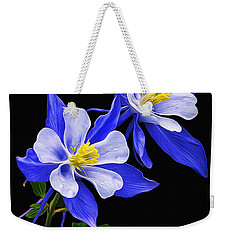 Weekender Tote Bag featuring the photograph Columbine Duet by Priscilla Burgers