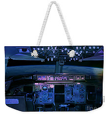 Commercial Airplane Cockpit By Night Weekender Tote Bag