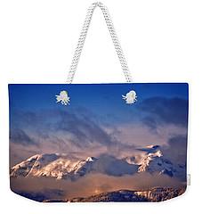 Comox Glacier And Morning Mist Weekender Tote Bag by Richard Farrington