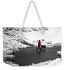 Companions Walking On Christmas Morning Weekender Tote Bag by Sandi OReilly