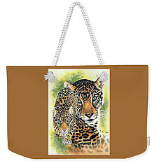 Weekender Tote Bag featuring the mixed media Compelling by Barbara Keith