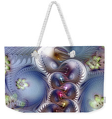 Weekender Tote Bag featuring the digital art Complicit In Comfort by Casey Kotas