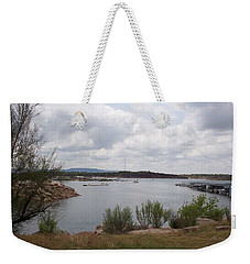 Weekender Tote Bag featuring the photograph Conchas Dam by Sheri Keith