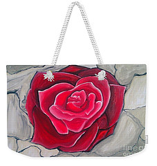 Weekender Tote Bag featuring the painting Concrete Rose by Marisela Mungia
