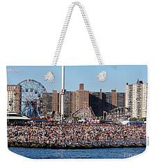 Weekender Tote Bag featuring the photograph Coney Island by Ed Weidman