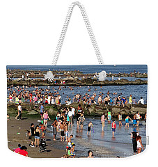 Weekender Tote Bag featuring the photograph Coney Island Rocks by Ed Weidman