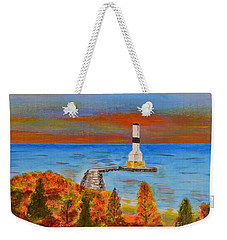 Fall, Conneaut Ohio Light House Weekender Tote Bag
