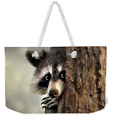 Weekender Tote Bag featuring the mixed media Conspicuous Bandit by Christina Rollo