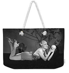 Contemplating A Grapefruit Weekender Tote Bag by Elmer Fryer