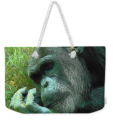 Weekender Tote Bag featuring the photograph Contemplative Chimp by Rodney Lee Williams