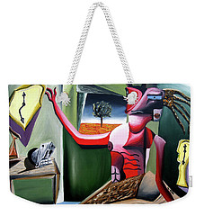 Weekender Tote Bag featuring the painting Contemplifluxuation by Ryan Demaree