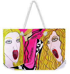 Weekender Tote Bag featuring the painting Cooca And Burra Love Shoes by Don Pedro De Gracia