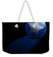 Weekender Tote Bag featuring the digital art Blue Ball Decorated With Star Grass Black Background by R Muirhead Art