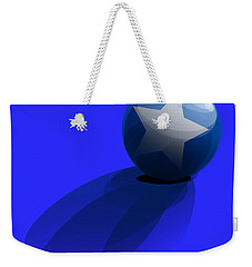 Weekender Tote Bag featuring the digital art Blue Ball Decorated With Star Grass Blue Background by R Muirhead Art