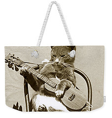 Weekender Tote Bag featuring the photograph Cool Cat Playing A Guitar Circa 1900 Historical Photo By Photo  Henry King Nourse by California Views Mr Pat Hathaway Archives