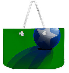 Weekender Tote Bag featuring the digital art Blue Ball Decorated With Star Grass Green Background by R Muirhead Art