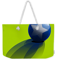Weekender Tote Bag featuring the digital art Blue Ball Decorated With Star Green Background by R Muirhead Art