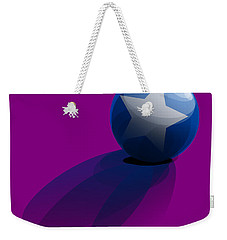 Weekender Tote Bag featuring the digital art Blue Ball Decorated With Star Purple Background by R Muirhead Art