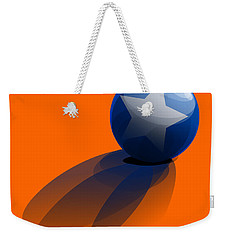 Weekender Tote Bag featuring the digital art Blue Ball Decorated With Star Orange Background by R Muirhead Art
