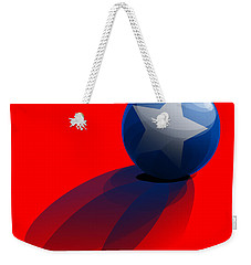 Weekender Tote Bag featuring the digital art Blue Ball Decorated With Star Red Background by R Muirhead Art