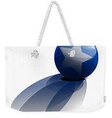 Weekender Tote Bag featuring the digital art Blue Ball Decorated With Star Grass White Background by R Muirhead Art