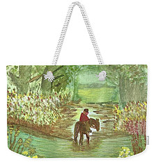 Weekender Tote Bag featuring the painting Cooling Off by Tracey Williams