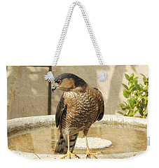 Cooper's Hawk At The Bird Bath Weekender Tote Bag