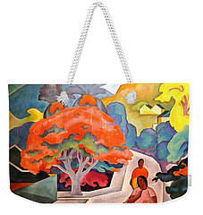 Weekender Tote Bag featuring the painting Coral Tree - Black Point Honolulu by Pg Reproductions
