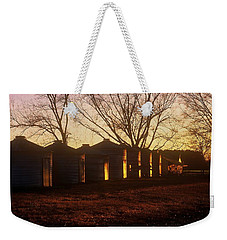 Weekender Tote Bag featuring the photograph Corn Cribs At Sunset by Rodney Lee Williams