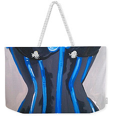 Weekender Tote Bag featuring the painting Corset Blue Lace by Marisela Mungia