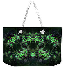 Cosmic Alien Eyes Green Weekender Tote Bag by Shawn Dall