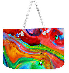 Weekender Tote Bag featuring the painting Cosmic Lights by Joyce Dickens