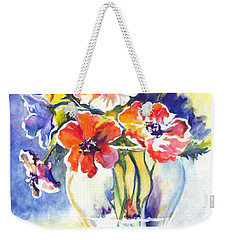Weekender Tote Bag featuring the painting Cosmos I by Carol Wisniewski