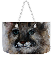 Weekender Tote Bag featuring the painting Antares - Cougar Cub by Barbie Batson