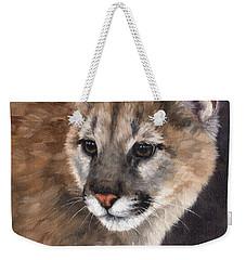 Cougar Cub Painting Weekender Tote Bag by Rachel Stribbling