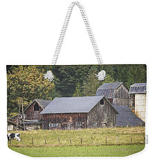 Weekender Tote Bag featuring the painting Country Art - Rustic Old Barns With Cow In The Pasture by Jordan Blackstone