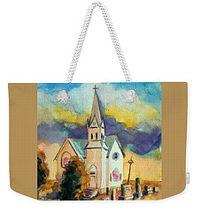 Weekender Tote Bag featuring the painting Country Church At Sunset by Kathy Braud