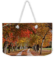 Weekender Tote Bag featuring the photograph Country Lane In Autumn by Jerry Gammon