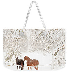 Country Snow Weekender Tote Bag by Cheryl Baxter