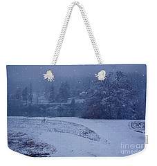 Weekender Tote Bag featuring the photograph Country Snowstorm Landscape Art Prints by Valerie Garner