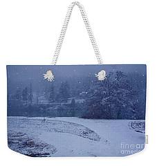 Country Snowstorm Landscape Art Prints Weekender Tote Bag by Valerie Garner