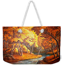 Country Stream In The Fall Weekender Tote Bag by Loxi Sibley