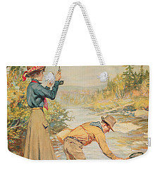 Couple Fishing On A River Weekender Tote Bag by Anonymous